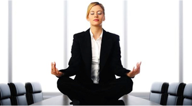 Meditating Office Worker